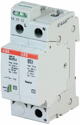 Arrester, type 2, industrial circuit protection, 1 phase, OVR series, single pole
